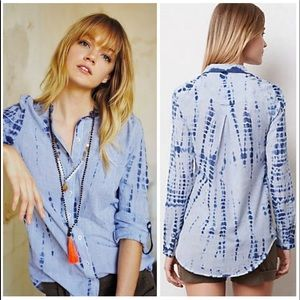 ANTHROPOLOGIE HEI HEI BLUE STRIPED TIE DYE SHIRT